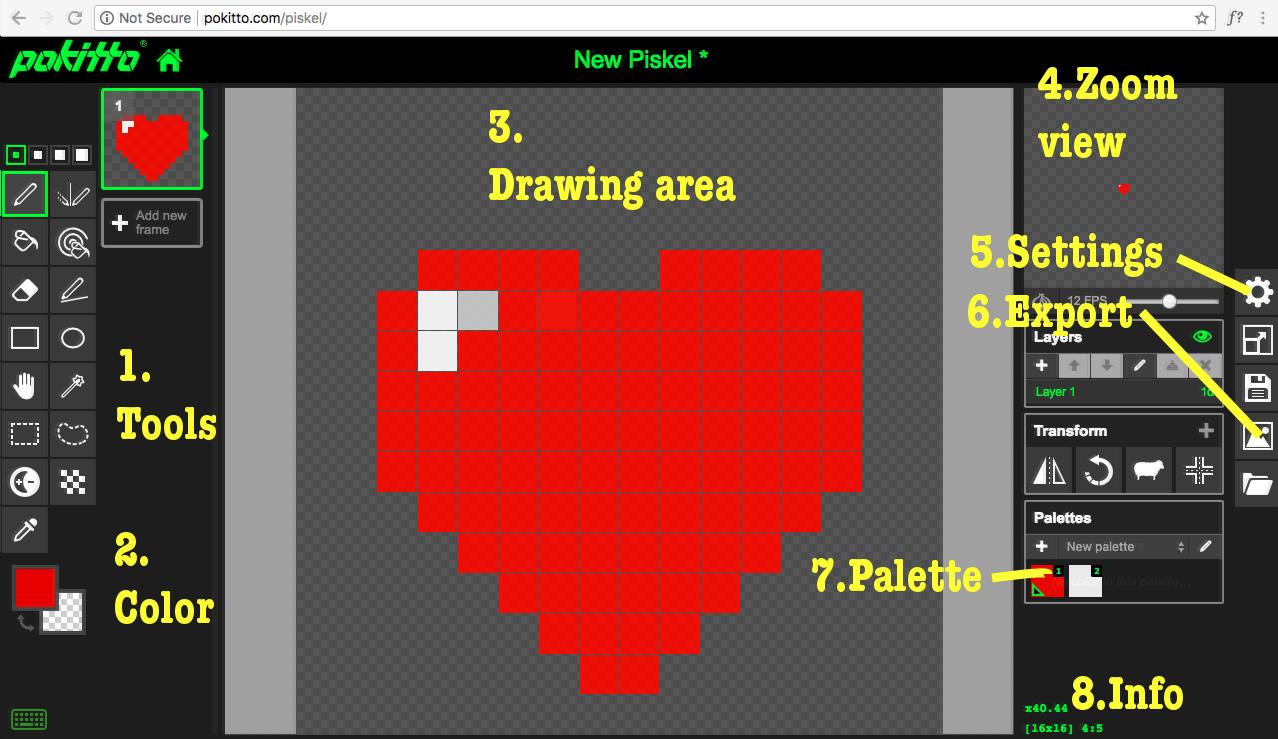 Tutorial Beginner 4 Creating Your Own Art Piskel Editor For Pokitto Tutorials Requests Talk Pokitto Com